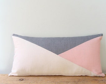 Blush Pink/off White/Grey/Lumbar Pillow Cover/Triangle/Custom Size/Handmade/Eclectic/ZigZag Studio Design