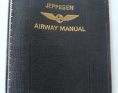 vintage binder, 7 ring notebook, Jeppesen Airway Manual, brown leather, from Diz has Neat Stuff