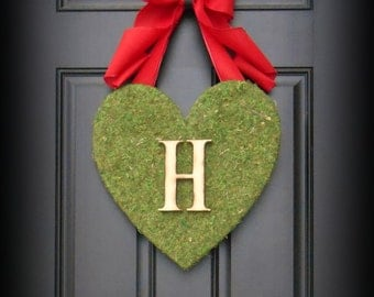 Valentines Day Wreath.  Heart Wreath.  Moss Covered Heart with XL Red Burlap Bow and Woodfired Monogram Letter.