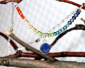 Blue Chalcedony Bezel Pendant with Multicolored Gemstone Beads on Sterling Silver Chains