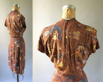 RESERVED // Top Drawer 1940s Art Deco Print Rayon Dress City Life People Cats Chimney