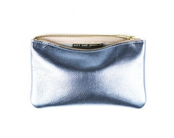 MAE Metallic Blue Leather Wallet. Light Blue Leather Pouch. Small Leather Pouch. Leather Makeup Bag