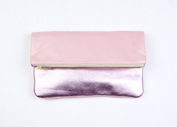 MILA Pink Leather Clutch. Pink Leather Fold Clutch. Small Leather Pouch. Pink Wedding Clutch.