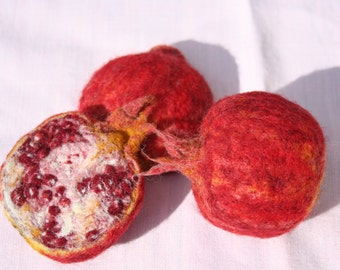 A pair of REAL LIFE FRUITS - needle felted & personalised order - made by order