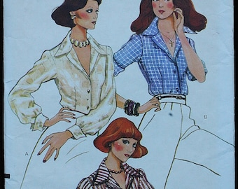 Vogue 8967  1970s 70s Fitted Button Down Up Blouse Shirt Vintage Sewing Pattern Size 8 Bust 31.5