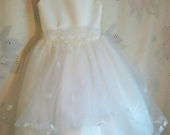 FLOWER GIRL DRESS, White, Size 2, Tip Top Kids, Pageant, Wedding, Formal Dress, With Petals