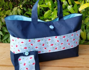 Knitting Bag with Cath Kidston Mini Stanley Pocket and Matching Mini Sewing Kit