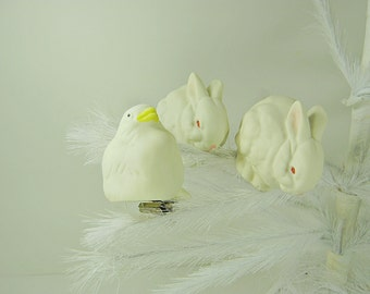 Vintage BUNNY & CHICK ORNAMENT Set/3 Christmas Tree Holiday Ceramic Clip on