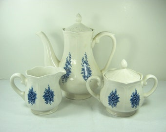 Vintage IRONSTONE COFFEE SET Blue & White Floral Transfer Mayhill Federalist Set/3 Pot/Cream/Sugar Japan