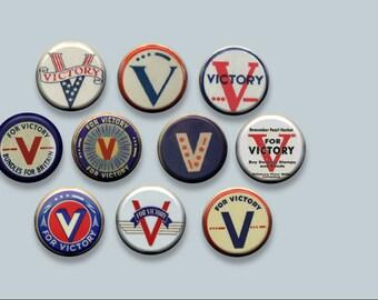 """V for Victory WWII World War 2 Effort Symbol 10 Pinback 1"""" Buttons Badges Pins"""