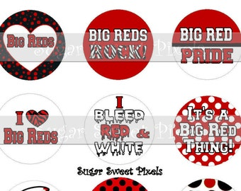 INSTANT DOWNLOAD Big Reds  School Mascot 1 inch Circle Bottlecap Images 4x6 sheet