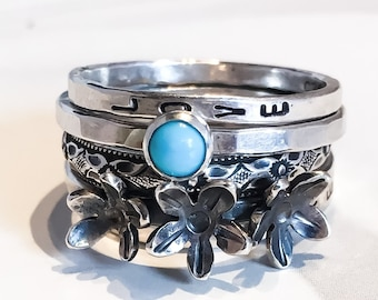 Turquoise and Wildflowers Personalized Stacking Rings // Sleeping Beauty Turquoise and Sterling Silver