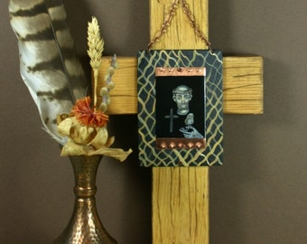 Saint Francis with Owl on Copper Wood Cross Assemblage Original