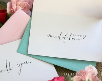 Will You Be My Bridesmaid Cards Cute Way to Ask Maid Matron of Honor, Flower Girl, Wedding Party, Unique Attendant Bridesman Card (Set of 4)