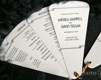 Wedding Program Fans 4 Blade Petal Programs w Satin Ribbon - Customizable Elegant Programs - Summer Wedding Custom Colors SS10 (Set of 50)