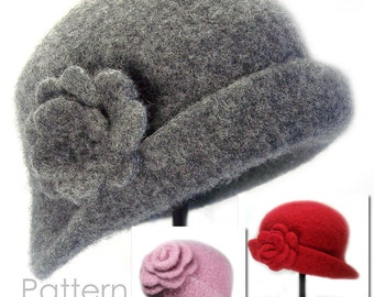 Felted Cloche & Brooch (newborn to adult sizes) - Crochet PATTERN Download PDF 1423