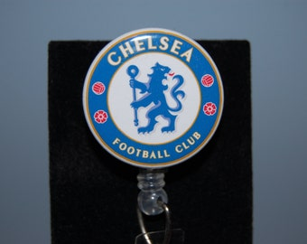 Retractable Badge ID Holder/Reel Chelsea Football Club  Alligator or Belt Clip by Hot Headz
