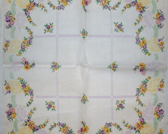 Delicate Cotton Floral Hanky Hankie Handkerchief