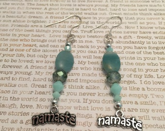 Namaste Earrings - Made With Blue Amazonite Gemstones, Swarovski Crystals, Czech Crystals Silver Charms And Metal Beads Spiritual Jewelry