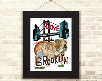 Bulldog -english bull dog- Bull dog Art-Bull Dog lover-Dog Art-Bull dog gift-English Bull print-English Bull dog gift-Brooklyn Dogt