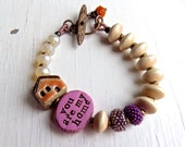 You Are My Home - handmade bracelet, pink bracelet, cream bead bracelet, peach bracelet, ceramic jewellery, pearl jewellery, songbead, uk