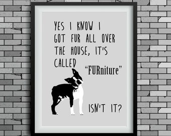 funny dog art, Boston Terrier print, wall decor, dog lover gift