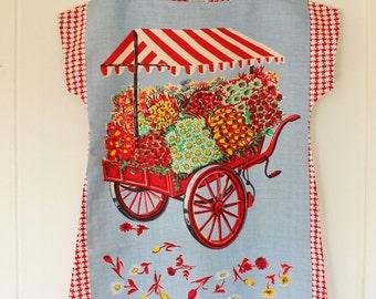 Upcycled Vintage Linen Tea Towel Tunic Dress XS Petite Womens Retro Flower Print Floral Maroon Orange Mini Mod