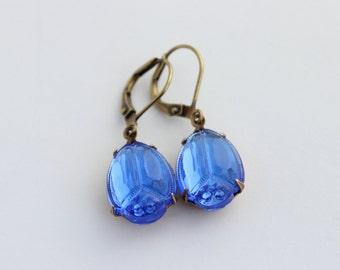 Sapphire earrings, Sapphire Scarab earrings, Egyptian earrings, Blue earrings, Egyptian Scarab earring, sapphire earrings, beetle earrings
