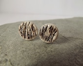 Ceramic Pottery Small Stud Earrings in a Gift Box, Post Earrings, Organic, Natural, Textured