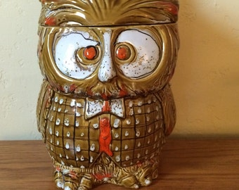 Vintage Owl Cookie Jar Mid Century Owl Canister Ceramic Canister Made In Italy Retro Kitchen Decor Kitchen Canister