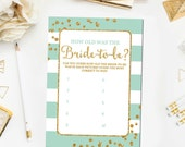 How Old was the Bride to Be Bridal Shower Printable Games, Bridal Shower Games Glitter Confetti Mint Green Printable Instant Download BR14