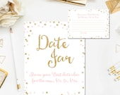 Pink and Gold Bridal Shower Date Night Jar for the Newlyweds, Bridal Shower Games, Gold Glitter Blush Pink, Printable Instant Download BR1