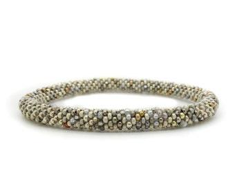 Nepal roll on Bracelet / multicolor beige, metal colors / choose your SIZE / supple, bead crochet bangle