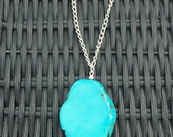 Turquoise Necklace, Turquoise Pendant Necklace, Turquoise and Silver Necklace, Gemstone Necklace, Chunky Turquoise Necklace, Southwestern