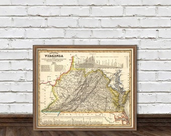 Virginia map - Old map restored - Map of Virginia archival reproduction