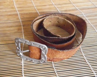 "Vintage Brown Leather Belt Fits from 37"" to 39"" waist Metal Buckle"