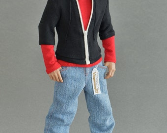 1/6th scale black zip hoodie for collectible action figures and male fashion dolls