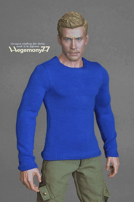 1/6th scale blue long sleeve T-shirt for: regular size action figures and male fashion dolls