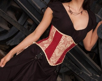 """ON SALE!  Steampunk Red and Ivory Steel Boned Waspie Corset w/Solid Front -- Corset Size 18, Fits Waist 21""""-23"""" -- Ready to Ship"""