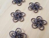 Antique Copper Flower Pendants, Qty of 5