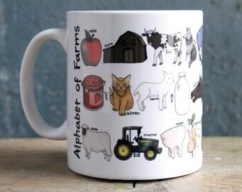 Farm Alphabet Mug - gift for farm lover - farm gift - farm mug - Alphabet of Farms Mug - gift for farmer - farming alphabet - farm animals