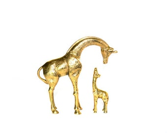 Brass Giraffe Brass Giraffes Pair of Giraffes Mother and Baby Giraffes Giraffe Figurines Babies Nursery Nursery Decor
