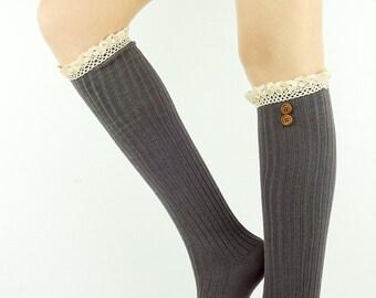 Dark Grey Leg warmers Legwarmers Women's Leg warmer Socks Women's Socks Knit Leg Warmers Knitted Leg warmers tall socks women's boot socks