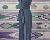 1970's Jumpsuit / Vintage Women's Black Romper / Light Weight Short Sleeve Wide Leg Onsie