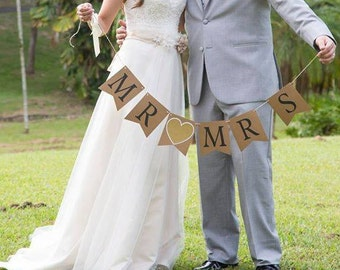 Mr. & Mrs. Banner Reversible with Wedding date on the back
