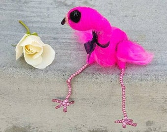 Pink flamingo miniature, needle felted bird sculpture, wool art figurine, posable feet, curio collectors, bright pink decor, shelf sitter