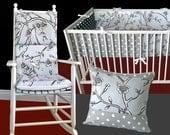 Nursery Package - Dwell Studio Vintage Blossom Dove, Black White Polka Dot