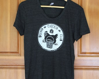 Backyard Chicken Club T-Shirt - Women's Fitted TRI BLEND Track T Shirt - S M L XL - Hand Screen Printed On American Apparel