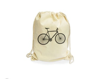Bicycle organic gymsack-bike bag-bicycle bag-gift for cyclists-bike bag-bike gymsack-drawstring backpack-bicycle-by NATURA PICTA NGS006