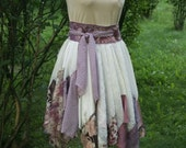 Tattered Moving Skirt Mori Girl Romantic White Ecru Powder Pink Upcycled Woman's Clothing Funky Style Shabby Chic Eco Friendly